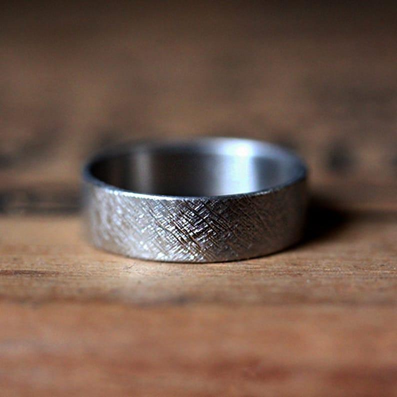 Mens palladium wedding band mens wedding ring rustic wedding image 0