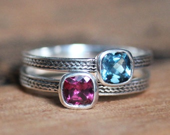 Gemstone stacking rings, mothers stackable rings, bezel gemstone rings, stackable mothers rings, stackable birthstone rings, double custom