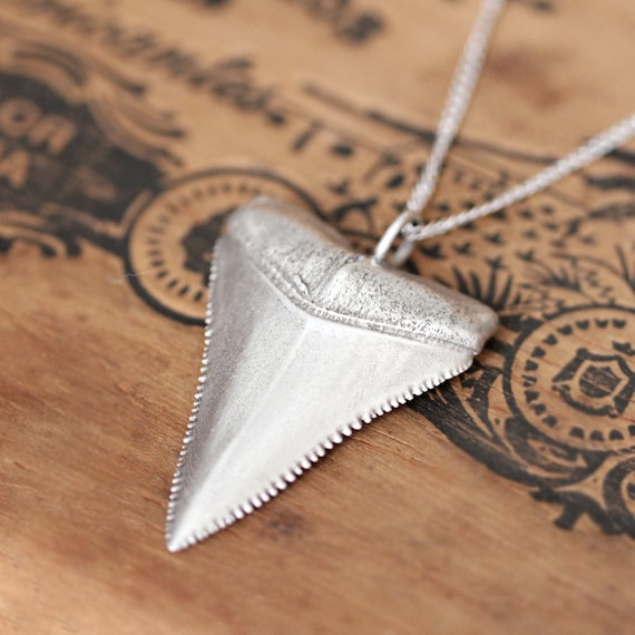 Great white shark tooth necklace silver shark tooth pendant aloadofball Gallery
