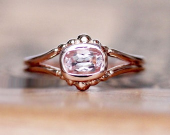 14k rose gold morganite engagement ring, bezel set cushion cut morganite promise ring, air ring for Gemini, Libra, and Aquarius birthdays