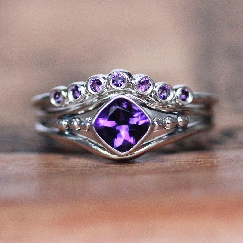 Amethyst engagement ring set anniversary ring set amethyst image 0