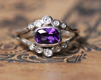 Natural amethyst cushion cut ring with moissanite halo february birthstone ring sterling silver amethyst and moissanite promise ring for her