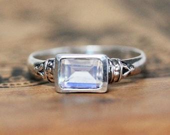Rainbow moonstone ring silver, moonstone engagement ring, vintage moonstone ring, emerald cut ring, june birthstone ring, anne bronte custom
