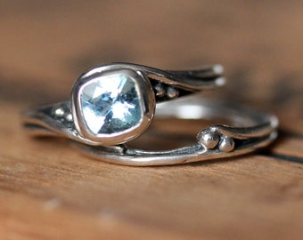 Custom ring: BAND ONLY - silver band to match cushion Pirouette engagement ring