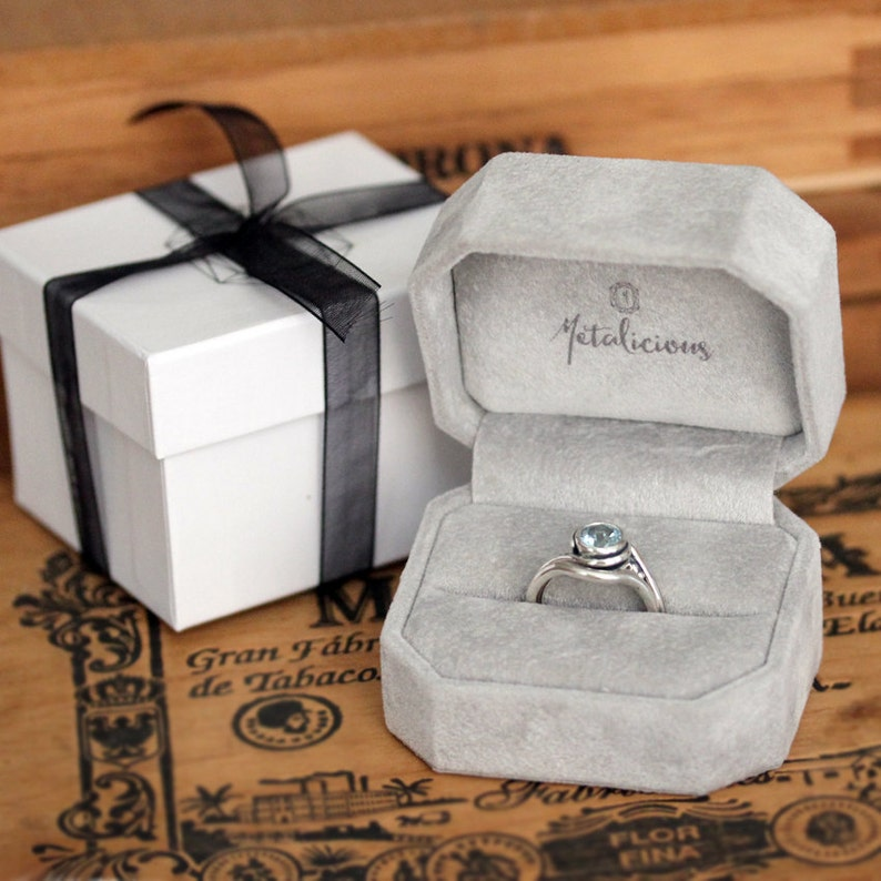 bridal ring set non diamond engagement ring custom made Modern engagement ring set Square stone ring silver diamond ring conflict free