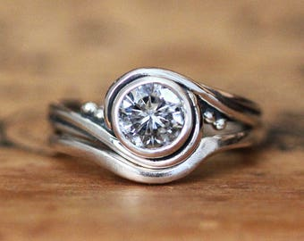 Forever brilliant moissanite engagement ring set, moissanite bridal ring set, round moissanite engagement ring, silver conflict free ring
