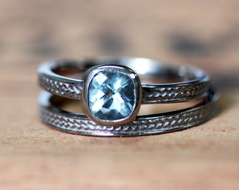 Aquamarine engagement ring set, white gold wedding ring set, square cushion solitaire, braided engagement ring, custom made to order