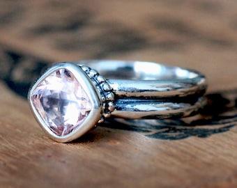 Morganite ring, morganite engagement ring, silver engagement ring, oxidized silver ring, solitaire ring, cushion cut ring, Poppyseed custom