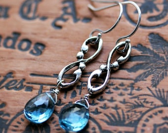 Blue topaz drop earrings, December birthstone earrings, something blue earrings wedding, bridal earrings silver, wife gift for her, Wrought