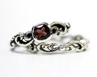Garnet engagement ring set, unique silver swirl wedding set, square bezel engagment ring, mini Water Swirl ring, custom made to order