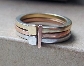 14k gold stacking rings, gold stacking rings, modern ring, mixed metal ring, alternative engagement ring, geometric ring, custom Metropolis