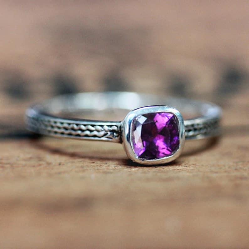 Purple amethyst ring sterling silver genuine amethyst ring image 0