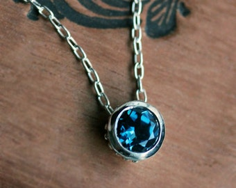 London blue topaz necklace, December birthstone necklace, bezel necklace, solitaire necklace, blue necklace, handmade, wrought collection