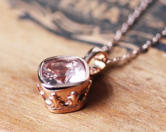 Morganite necklace rose gold, vintage pendant, cushion morganite, bezel necklace, 14k rose gold morganite, anniversary gift for her bronte