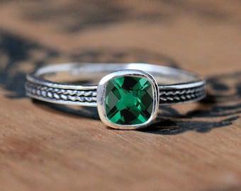 Emerald ring sterling silver, May birthstone ring, stackable sterling silver ring, bezel ring imitation emerald, silver braided ring, custom