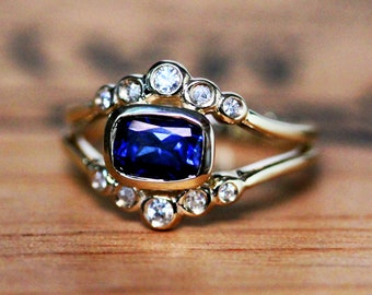 Sapphire halo engagement ring yellow gold with moissanite shadow bands, cushion cut Chatham Sapphire and moissanite ring, bezel set sapphire