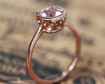 Cushion Cut Morganite Engagement ring, rose gold vintage 14k rose gold ring, pink morganite solitaire ring, ethical, emily bronte custom