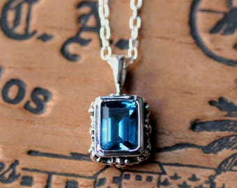 London blue topaz necklace, blue topaz pendant, emerald cut necklace, vintage style necklace, floral necklace for women, december birthstone