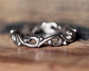 White gold band, white gold wedding band women, white gold wedding ring, white gold stacking rings, anniversary gift, ocean wave ring custom