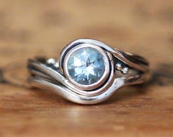 Aquamarine bridal set, aquamarine engagement ring set, aquamarine wedding ring set, unique alternative engagement ring, pirouette custom
