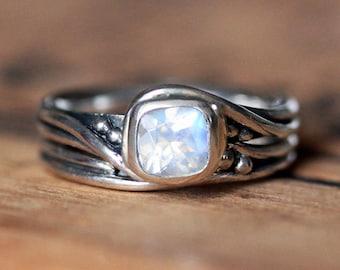 Moonstone engagement ring set, rainbow moonstone engagement ring silver, unique moonstone wedding set, rustic wedding ring, Pirouette custom