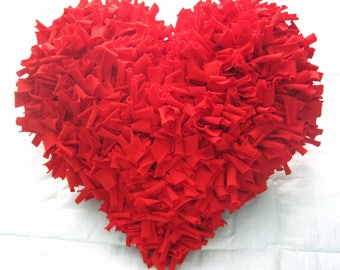 Red Cotton Shag HEART Pillow