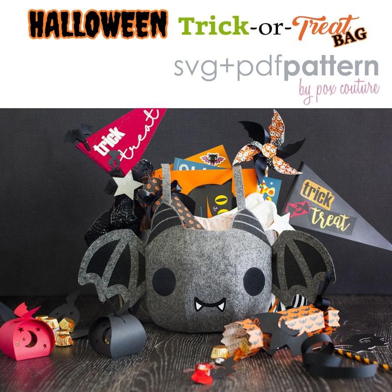 Halloween Trick or Treat Bag  BAT  SVG file PDF Pattern image 0