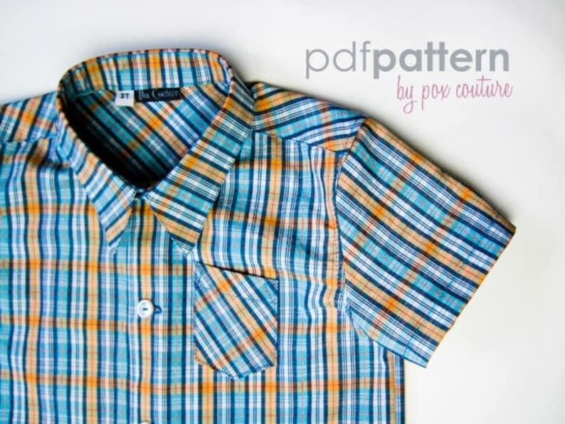 Kids Summer Shirt  PDF PATTERN and Instructions 18m-6 image 0