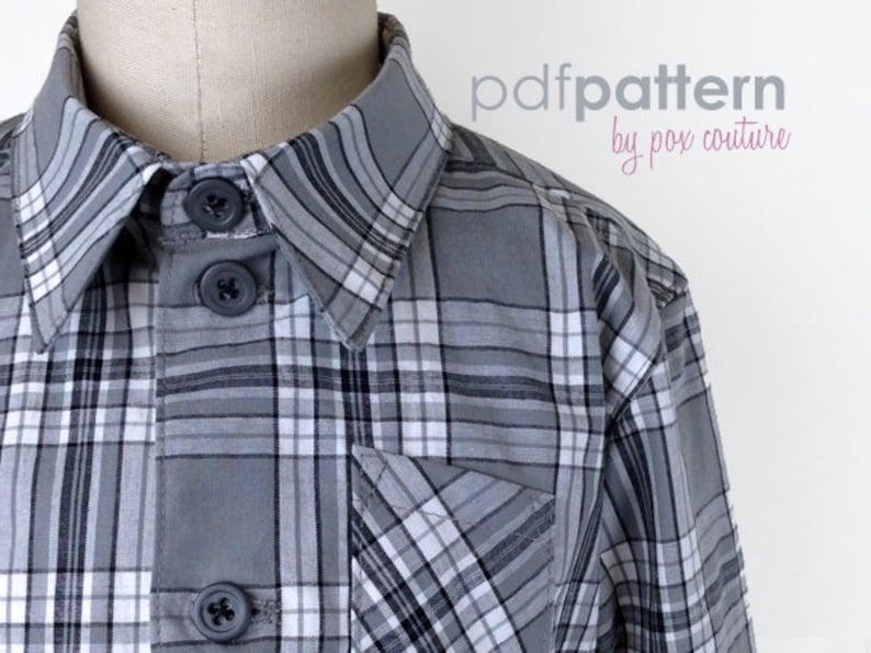 Kids LONG SLEEVE Shirt  PDF Pattern and Instructions 18m-6 image 0