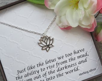 Flower necklace etsy lotus flower necklace sterling silver inspirational jewelry lotus flower charm spiritual jewelry buddhist flower necklace yoga aloadofball Images