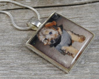 Photograph Pet Necklace - Customized Jewelry - Silver Plated Resin Square Pendant - Personalized Jewelry