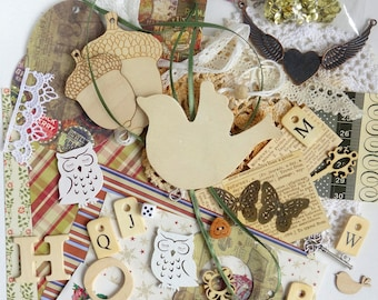 Mixed craft supplies pack, for junk journals, collage or mixed media. Ephemera kit with 60+ items