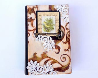 Altered book original mixed media art collage vintage bird key lace book lover gift