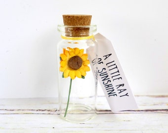 A little ray of sunshine: sunflower positivity gift, supportive message for friend, mental health / thinking of you.
