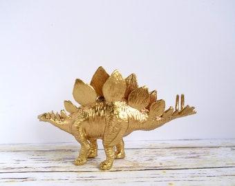 Gold Stegosaurus dinosaur ornament: fun science /palaeontologist Christmas gift.