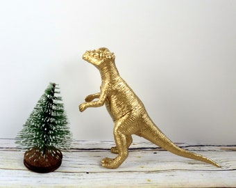 Gold dinosaur decoration: Freestanding figure for Christmas or party decor