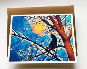 MOON DANCE set of 8, note card, greeting card, paper and party supplies, black cat, stationary, art, nature, tree, moon, autumn, Halloween