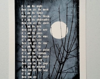 IF THEN giclee, poetry, moon, tree, nature, philosophy, art, home decor