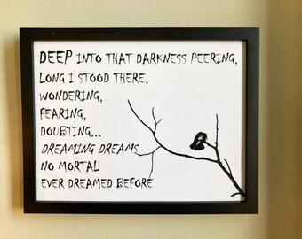 NO MORTAL Ever Dreamed Before, mixed media, wall hanging, home decor, wall decor, art, collectibles, poster. Edgar Allan Poe, Raven