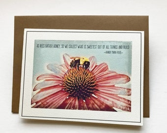 GATHER HONEY set of 10 note cards, greeting card, stationery, paper goods, party supplies, Spring, bees, flower, nature, art. saying, Rilke