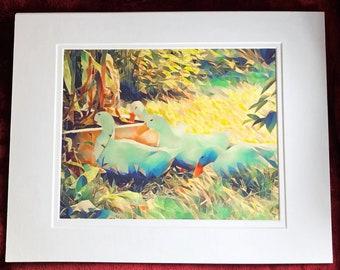 PEKINS in the Autumn Garden, giclee, art print, pekin ducks, fall, nature, home decor, wall decor, art and collectibles