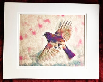WINGS giclee, art print, home decor, wall decor, bird, purple, bohemian, art and collectibles, nature