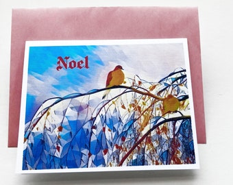 NOEL set of 10, greeting card, Christmas card, Solstice, winter, bird, dove, stationary, paper goods, new year, holiday