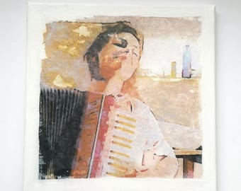 Woman Plays Accordion in Italian Cafe mixed media, art, home decor, music