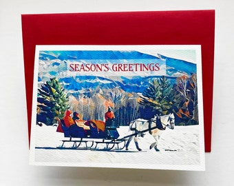 SET OF 10 note cards, greeting cards, paper goods, stationary, Christmas, New Year, Solstice, sleigh, winter, horse, party goods