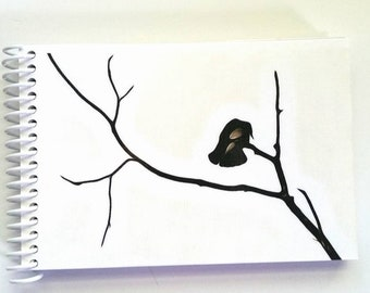 THE CROW hand made journal, crows, tree, black and white, paper goods, books, stationary