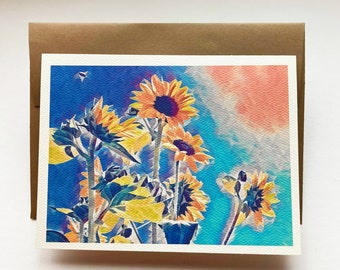 FIRST LIGHT 5x7 note card, greeting card, stationary, paper supplies, party supplies, sunflowers, yellow, Spring, bee