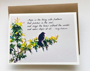 RED-WINGED Blackbird, note card, set of 8, greeting card, stationary, paper supplies, 5x7 Spring, hope, poetry