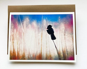 COLORS of Spring note card, greeting card, 5x7, stationary, paper supplies, party supplies, red-winged blackbird, Spring, nature