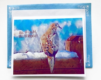 ALL IS BRIGHT note card, greeting card, stationary, paper goods, Christmas, New Year, Dove, Winter, Solstice